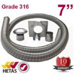 "10m x 7"" Flexible Multifuel Flue Liner Pack For Stove"